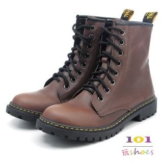 【101玩Shoes】mit. 個性8孔綁帶帥氣馬丁中筒靴(咖啡色.36-40碼) 推薦  101玩Shoes