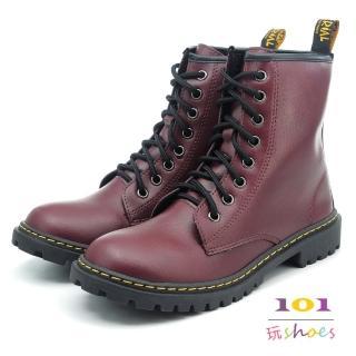 【101玩Shoes】mit. 個性8孔綁帶帥氣馬丁中筒靴(酒紅色.36-40碼)  101玩Shoes