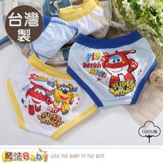 【魔法Baby】男童內褲 四件一組 台灣製超級飛俠正版純棉三角內褲(k50953) 推薦  魔法Baby