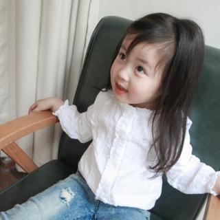 【小衣衫童裝】百搭清新小花邊立領白色長袖襯衫(1070934)  小衣衫童裝