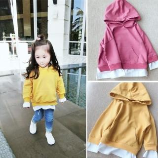 【小衣衫童裝】中性款中小童假2件純色連帽長袖運動服(1070924)  小衣衫童裝