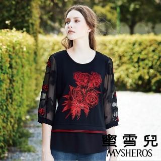 【mysheros 蜜雪兒】紅寶玫瑰鏤空七分上衣(黑) 推薦  mysheros 蜜雪兒