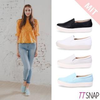 【TTSNAP】厚底樂福鞋-MIT微尖頭修長真皮休閒鞋(黑/白/灰/藍)  TTSNAP