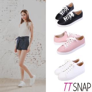 【TTSNAP】休閒鞋-MIT素面綁帶輕量真皮厚底鞋(黑/白/粉)  TTSNAP