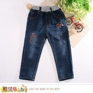 【魔法Baby】男童牛仔褲 鬆緊帶精緻牛仔長褲(k60726)好評推薦  魔法Baby
