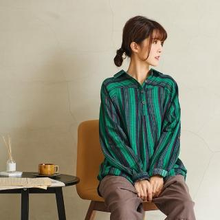 【*KatieQ 慢。生活】配色線條襯衫領開扣衫-F(紅橘/綠)  *KatieQ 慢。生活