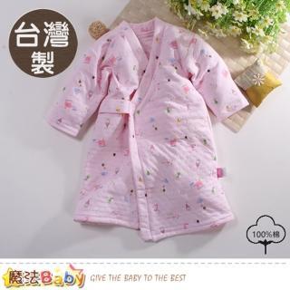 【魔法Baby】嬰兒長袍 台灣製三層棉厚保暖純棉護手長睡袍(b0096)  魔法Baby