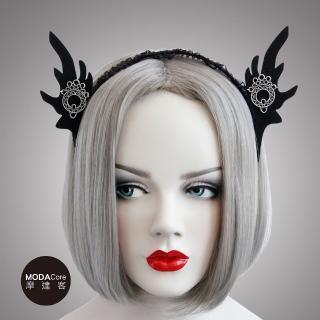【摩達客】萬聖派對頭飾-哥德風黑色精靈耳蕾絲創意造型髮箍  摩達客