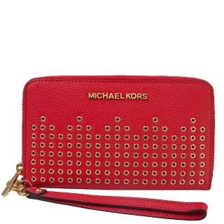 【Michael Kors】金屬字母LOGO鉚釘皮革拉鍊長夾-可手掛(紅)  Michael Kors