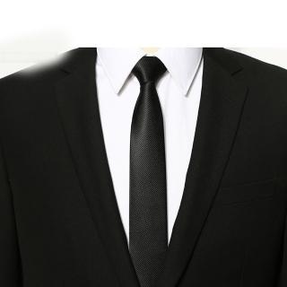 【拉福】領帶中窄版領帶6cm領帶手打領帶(黑細斜)強力推薦  拉福