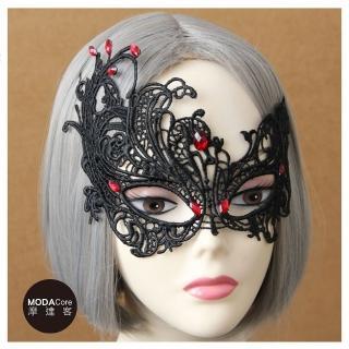【摩達客】萬聖派對化妝舞會頭飾-哥德風死神黑色蕾絲精緻編織眼罩強力推薦  摩達客