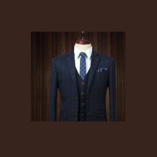 【拉福】領帶6cm中窄版領帶拉鍊領帶(格紋藍)  拉福