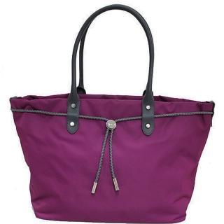 【agnes b.】帆布麻繩束袋手提包大(桃紫色)  agnes b.