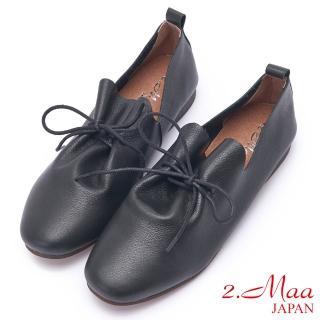【2.Maa】柔軟小牛皮綁帶深口包鞋(黑)  2.Maa