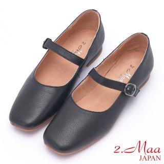 【2.Maa】素面簍空飾釦羊皮低跟方頭包鞋(黑) 推薦  2.Maa