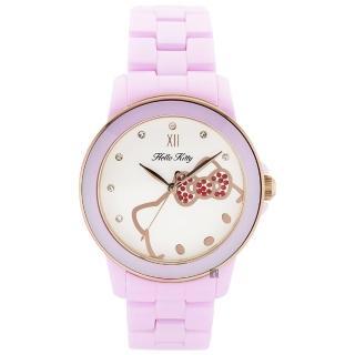 【HELLO KITTY】凱蒂貓 粉紅甜心陶瓷手錶-白x粉/36mm(LK673LPWI)好評推薦  HELLO KITTY