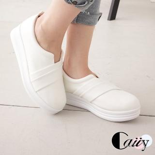 【Caiiy】簡約純色舒適厚底休閒鞋A342(白色/黑色) 推薦  Caiiy