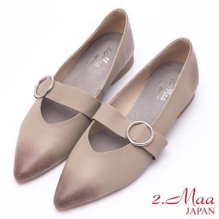 【2.Maa】仿舊漸層牛皮低跟尖頭包鞋(灰)  2.Maa