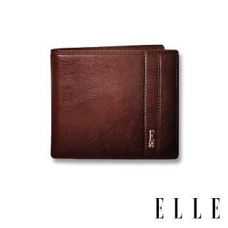 【ELLE HOMME】壓紋Logo系列-6卡三折窗格真皮皮夾/短夾/零錢袋(紳士棕EL207043)  ELLE HOMME