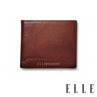 【ELLE HOMME】壓紋Logo系列-3卡上翻窗格真皮皮夾/短夾/零錢袋(紳士棕EL207047)  ELLE HOMME