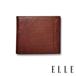 【ELLE HOMME】壓紋Logo系列-3卡上翻窗格真皮皮夾/短夾/零錢袋(紳士棕EL207042)  ELLE HOMME