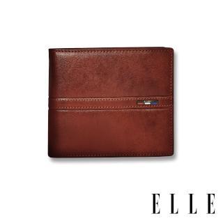 【ELLE HOMME】70週年系列-3卡窗格簡約真皮皮夾/短夾/零錢袋(紳士棕EL207044)  ELLE HOMME