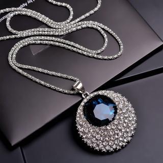 【梨花HaNA】韓國璀璨永恆靛藍水晶滿鑽環繞長項鍊毛衣鍊  梨花HaNA