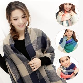 【幸福揚邑】羊絨質感格紋保暖圍巾/披肩(4款可選) 推薦  幸福揚邑