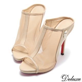 【Deluxe】全真皮時尚骷髏網紗魚口高跟拖鞋(米)真心推薦  Deluxe