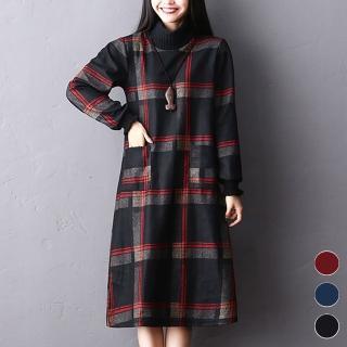 【A.Cheter】韓國復古寬鬆大碼修身毛呢格紋長洋裝103103*#(3色)強力推薦  A.Cheter