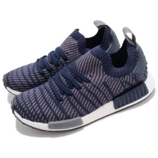 【adidas 愛迪達】休閒鞋 NMD_R1 STLT 襪套 運動 男鞋 愛迪達 海外限定 boost中底 避震 藍 白(B22650)  adidas 愛迪達