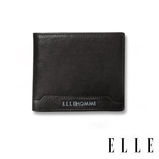 【ELLE HOMME】壓紋Logo系列-3卡上翻窗格真皮皮夾/短夾/零錢袋(紳士黑EL207047) 推薦  ELLE HOMME
