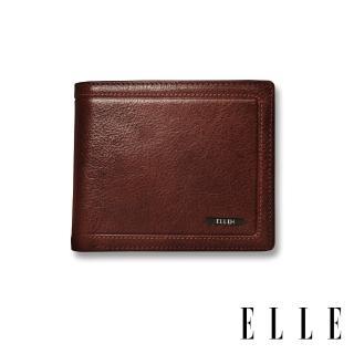【ELLE HOMME】金屬Logo系列-6卡三折窗格真皮皮夾/短夾/零錢袋(紳士棕EL207048) 推薦  ELLE HOMME