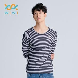 【WIWI】橫條米奇溫灸刷毛圓領發熱衣 男/三色 S-3XL 推薦  WIWI