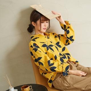 【*KatieQ 慢。生活】枝葉印花棉襯衫-F(黃)好評推薦  *KatieQ 慢。生活