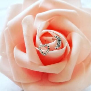 【DoriAN】手作純銀 戀愛滿鑽月亮簍空愛心925純銀心型耳環耳針(附禮盒包裝及銀飾保證卡)  DoriAN