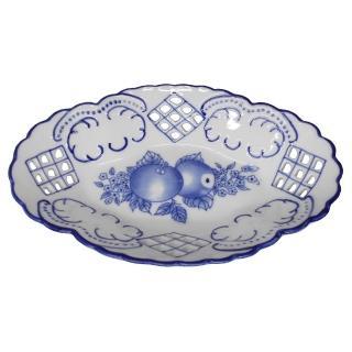 【KC】歐式高級鏤空瓷盤-青花浮雕橢圓盤小(RA002)  KC