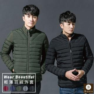 【Boni's】輕薄舒適保暖羽絨外套 XL-4XL(黑色 / 藍色 / 灰色 / 軍綠色 / 酒紅色)強力推薦  Boni's