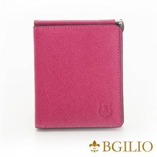 【義大利BGilio】都會十字紋牛皮歐風輕薄短夾-桃紅(2299.301-14)好評推薦  義大利BGilio