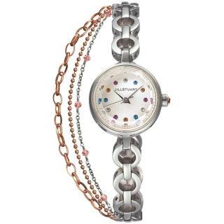 【JILL STUART】Chain系列秀氣優雅時尚晶鑽鍊錶款(銀/彩鑽 JISILDR005)  JILL STUART