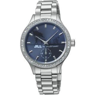 【JILL STUART】Jill by Big Leather系列晶鑽簡約時尚錶款(銀/藍 JISILDT005)  JILL STUART