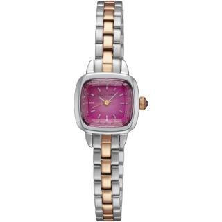 【JILL STUART】Ring Square系列優雅時尚方型錶款(銀玫瑰金/桃紫面 JISILDV002)  JILL STUART