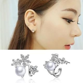 【梨花HaNA】韓國925銀針綺麗花園珍珠點鑽花朵耳環  梨花HaNA