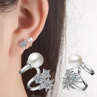 【梨花HaNA】韓國925銀針天馬行空星日相伴珍珠點鑽勾勒耳環好評推薦  梨花HaNA