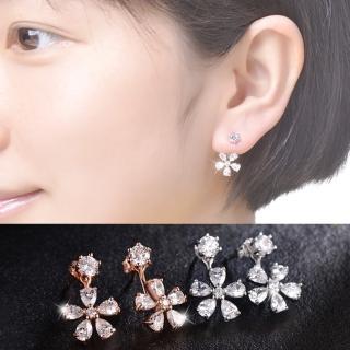 【梨花HaNA】韓國925銀針簡單氣息點鑽花朵鋯石耳環  梨花HaNA