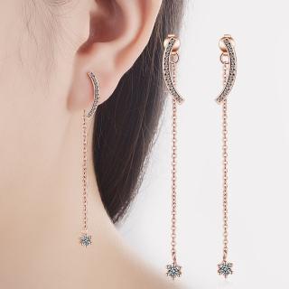 【梨花HaNA】韓國俐落時尚氣質半彎點鑽流線耳環  梨花HaNA