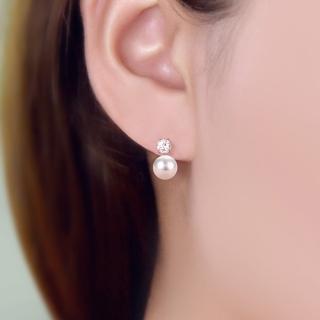 【梨花HaNA】韓國925銀針簡約系列點鑽珍珠耳環  梨花HaNA