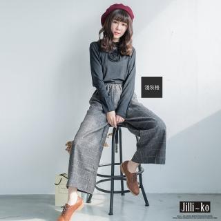 【Jilli-ko】冬日毛呢綁帶通勤修飾褲-F(黑/深藍/淺灰格/深灰格)強力推薦  Jilli-ko