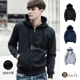 【Boni's】歐美休閒純色連帽棉外套 XL-4XL(黑色 / 藍色 / 灰色) 推薦  Boni's