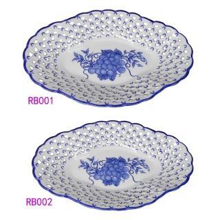 【KC】歐式高級鏤空瓷盤2入組(RB001+RB002)  KC